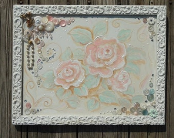 Painted roses, Rose painting, cottage chic art, pink roses,  upcycled art, original mixed media art