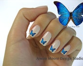 Shabby Very Chic Mode Blue Lite Butterfly Nail Art Decal Waterslide Miniature Water Decals - be-16