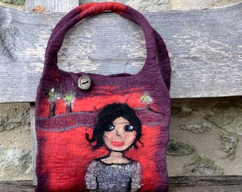 Felted bag Hand felted Felt purse unique Nuno felt handbag womens Artistic purse french handbag fiber art Boho