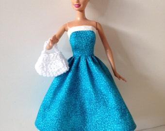 Handmade Barbie Clothes Turquoise White Dress Handbag (Q318)