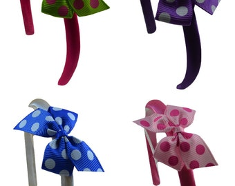 Doll Headbands Boxed Gift Set with Polka Dot Bows - Set of 4 - Fits all 18 Inch Dolls