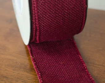 "Red or Burgundy wired burlap ribbon, 2.5"" burlap, by the yard,  wine burlap ribbon,  burlap ribbon, burlap, burgundy ribbon"