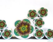 SALE - Teal, Green and Brown Polymer clay millefiori Flower cane , raw and unbaked polymer clay Fimo cane by Ronit Golan