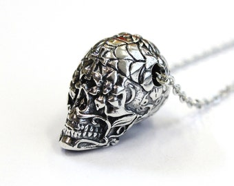 Sugar Skull Necklace Silver Sugar Skull Pendant Necklace Sugar Skull Jewelry 153