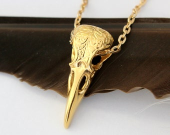 Raven Skull Necklace, Solid Bronze with 24K gold plating Raven Necklace, Engraved Bird Skull Pendant Necklace 313
