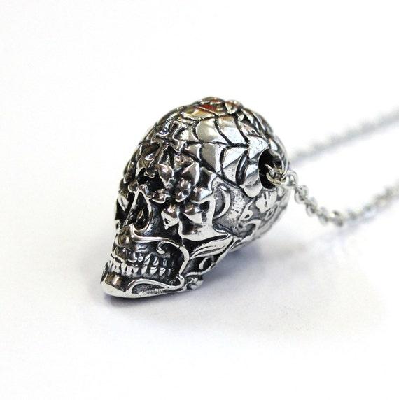 Sugar Skull Necklace Silver Sugar Skull Pendant Necklace Sugar Skull Jewelry 153