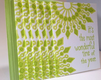 6 Pack Letterpress Mandala Holiday Card - Green Color Combination