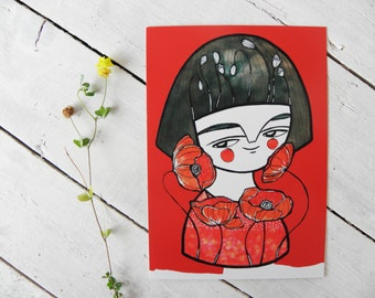 Red poppies postcard girl flower portrait