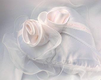 Ring Bearer Pillow, Heart Shape, White Satin, Blush Pink, Wedding Pillow, Handmade Fabric Roses