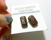 Ice Cream Sandwich Earrings - Polymer Clay Post Earrings