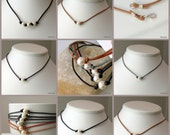 Pearls and Leather Necklace, Choose Leather Color and One or Three Pearls, Natural Summer Fashion, Rustic Pearl Choker
