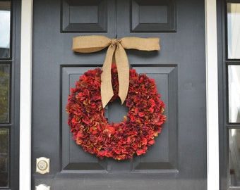 Apple Red Fall Wreaths Hydrangea Wreath- Fall Decor- Fall Hydrangeas- Door Decoration- Thanksgiving Wreath with Burlap Ribbon