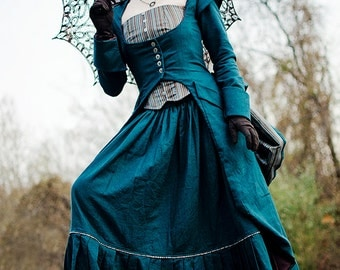 Miss Giselle goes undercover ~ Victorian Steampunk 3-piece ensemble in denim or twill ~ skirt bustier and long corset jacket