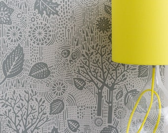 Autumn Wallpaper in Soft Grey - 10m x 52cm roll