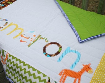 Personalized Baby Name Quilt- Urban Zoologie