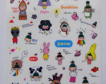 Cute Green Haired Daizy Girl Plastic Stickers From Korea - Rainbow, Snowman, Alien, Banana, Panda Bear, Reindeer, Cow, Mouse, Animal, Crown
