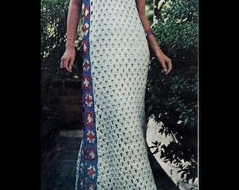 Crochet Maxi Dress Pattern - Women Size 8 thru 16 - PDF 1972GS - Instant Download Crochet  Pattern