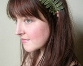 Fern Leaf Headband- Peridot Green with Sage Embroidery