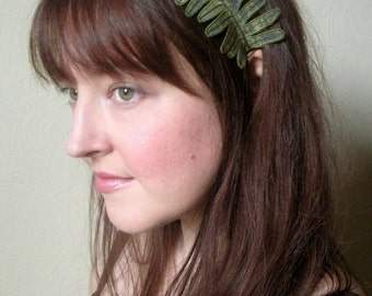 Fern Leaf Headband- Peridot Green with Sage Embroidery