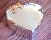 Vintage Silver Plated Heart-Shaped Jewelry or Trinket Box - w/ Gold Plated Bow - NIB