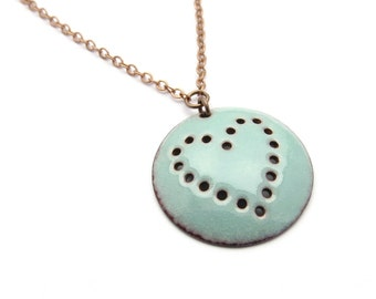 Turquoise Blue Heart Necklace, Round Pendant, Pastel Enamel on Copper / europeanstreetteam