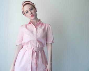 XMAS SALE Pink Candy Stripe Sweetheart Dress // Vintage Midi Dress With Matching Waist Tie