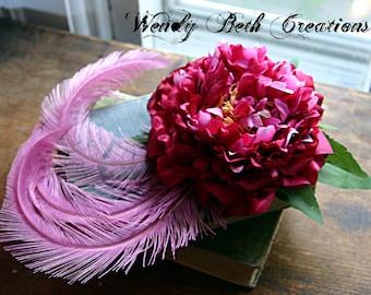 Raspberry Sherbert Hair Clip Fascinator - Renaissance, Festival, Wedding, Belly Dance, Tribal Fusion, Prom, Hair Garden, Burlesque, Pink
