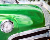 Dad Art Wall Painting Large Car Classic Vintage Green Oil