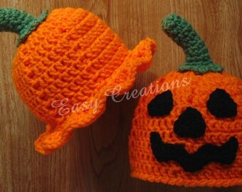CROCHET PATTERN, Pumpkin Hat, Beanie, brim, Halloween, baby, trick or treat, jack o'lantern, orange, face, skill level intermediate