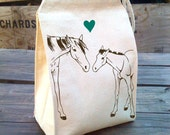 Lunch Bag, Horse lunch bags, Pony Bag with heart design, Reusable Cloth Cotton Canvas Snack sack rope handle, velcro, and washable reusable