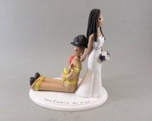 Bride Dragging Firefighter Groom Custom Wedding Cake Topper