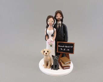 Teacher & Doctor with Pets Custom Handmade Wedding Cake Topper