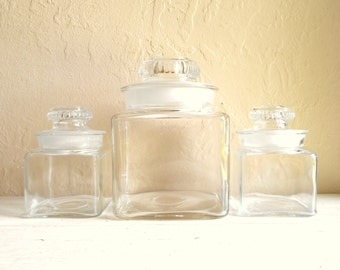 Set of 3 Antique Clear Glass Jars with Lid Frosted Ground Matching Set