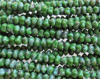 9x6mm Opaque Green Turquoise Picasso Czech Glass Nugget Beads 7 Inch Strand (BW320)