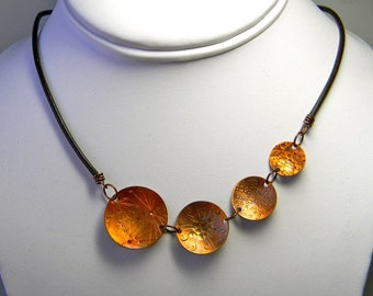 Textured Copper Graduated Disc Necklace