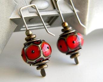 Deep Red Lampwork Glass Lantern Earrings