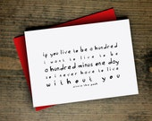 valentine card anniversary card winnie the pooh quote card a hundred minus one day wedding card romantic card handmade greeting card for her