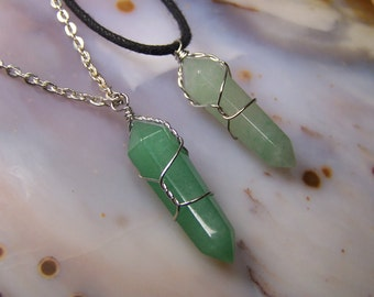 Green Aventurine crystal necklace pendant - Double Terminated stone point - wrap color jade green stone - silver wire wrapped made to order
