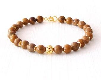 Gold Gemstone Bracelet - Jasper - Brown, Gold - The Stoned: Speckled Filigree 6mm Round