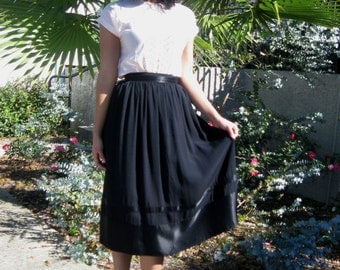 Full black crepe skirt with satiny stripes