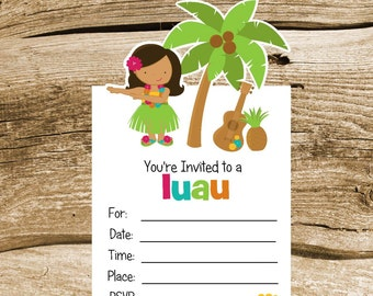 Luau Party- Set of 8 Hula Girl Invitations by The Birthday House