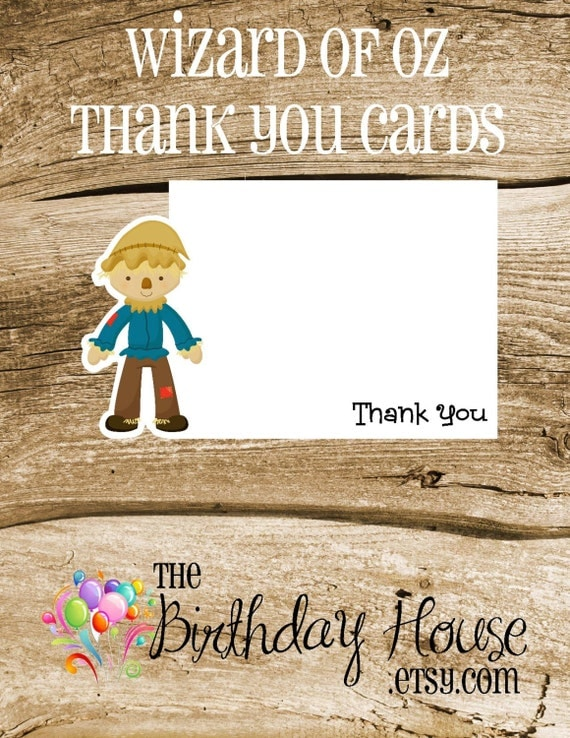 Oz Friends Party - Set of 8 Scarecrow Thank You Cards by The Birthday House