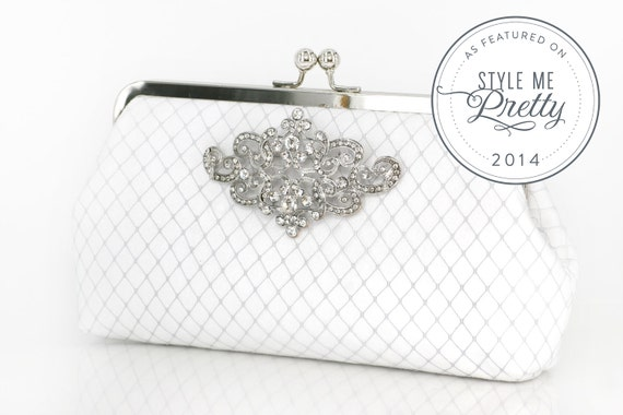 White Bridal Clutch with Rhinestone Geometric Brooch (lace cross) 8-inch PASSION ARTDECO etsygift