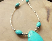 Turquoise Pendant, Turquoise and Silver, Pendant Necklace, Handcrafted Jewelry, Native Style Jewelry, Gift under 30, Southwest Style