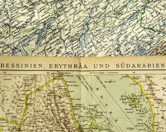 1897 German Map of Abyssinia, Eritrea, and Saudi Arabia / Red Sea
