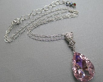 Pink Crystal Necklace - Prom Jewelry - Pendant - Downton Abbey Inspired Jewelry - VERSAILLES Pink