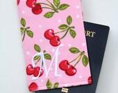 CUSTOM Monogram Passport Cover - Pink Cherry Dots