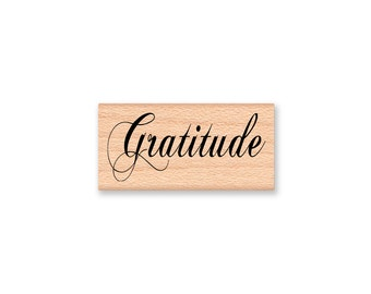 GRATITUDE Rubber Stamp~Thank You~Grateful~Thanksgiving~Holiday Crafting~Wood mounted Rubber Stamp by Mountainside Crafts (28-43)
