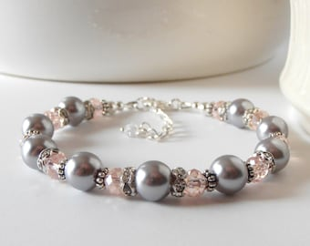 Gray and Pink Bridesmaid Jewelry Pink and Gray Pearl Bracelet Beaded Wedding Jewelry Bridesmaid Bracelets Pearl and Crystal Bridesmaid Gift