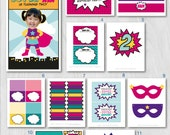 Superhero Party, Superhero Birthday, Supergirl Party, DIY Party Collection by MayDetails with your CUSTOM PHOTO, Party Kit